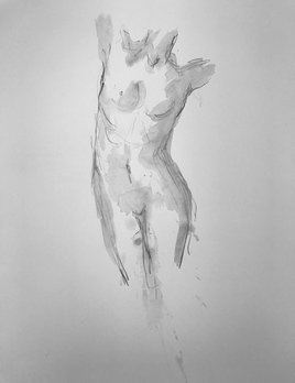 Thomas Bucich - Nude Study VI - Pencil Wash on Paper - Framed
