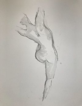 Thomas Bucich - Nude Study V - Pencil Wash on Paper - Framed