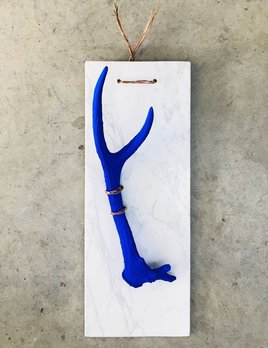 Thomas Bucich - Specimen II - Deer Antler, Pigment, Copper Wire and Marble - 96H x 30W x 33D