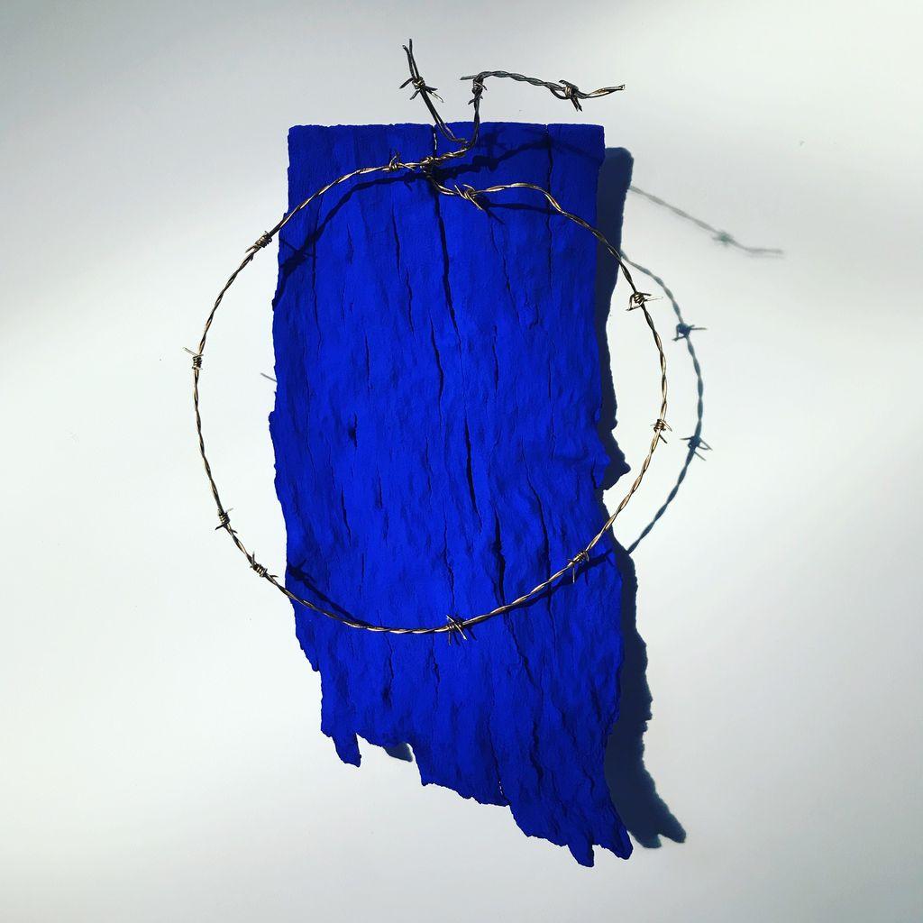 Thomas Bucich - Halo - Bark, Pigment, Barbed Wire - 44H x 30W