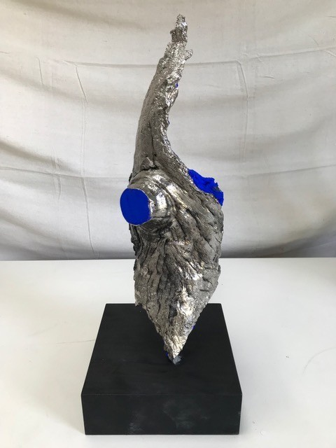 Thomas Bucich - Relic VII - Nickel  Electroplated Wood, Pigment on  Wood Base - 50H x2 0L x 20W