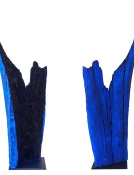 Thomas Bucich - Relic Burnt / Blue III - Reclaimed Burnt Wood, Pigment Steel Base - 114H x 440W x 350D