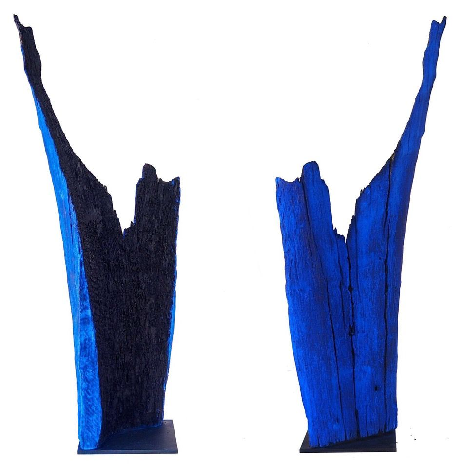 Thomas Bucich - Relic Burnt / Blue III - Reclaimed Burnt Wood, Pigment Steel Base - 114H x 440W x 350D