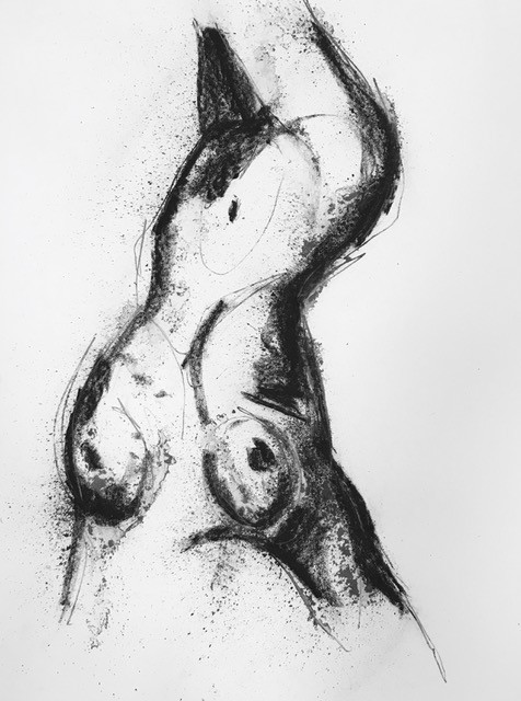 Thomas Bucich - Nude Study IX - Charcoal, Pencil on Paper - 90H x 70W - Framed