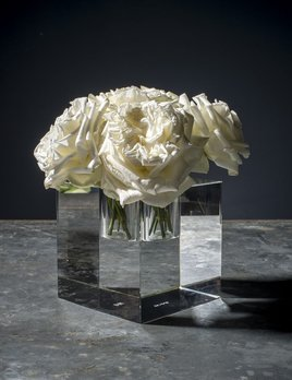 BECKER MINTY BECKER MINTY Cubik Collection - Small Square Cube Vase - Crystal Glass - Clear - 12x12x12cm