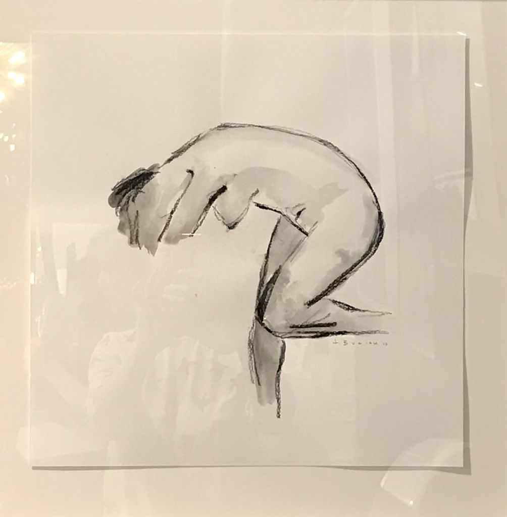 Thomas Bucich -  Nude Figure Study - Charcoal, Pencil on Paper - 58H x 58H Framed