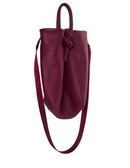 My Poloma Burgundy Mini Baggy -  Leather Small Shopping Bag with Fabric Crossbody Strap - Columbia