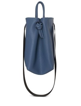 My Poloma Blue Mini Baggy -  Leather Small Shopping Bag with Fabric Crossbody Strap - Columbia