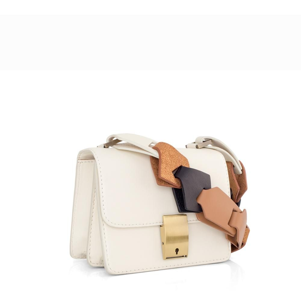 My Poloma Offwhite Tiny Spot Bag -  Messager Bag in Lamb Leather - Napa & Metallic Links Strap - Columbia