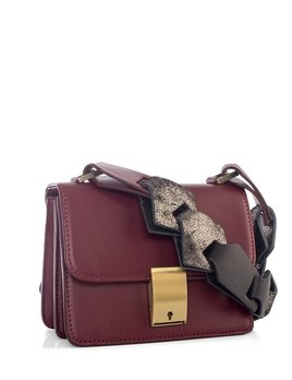 My Poloma Burgundy Tiny Spot Bag -  Messager Bag in Lamb Leather - Napa & Metallic Links Strap - Columbia