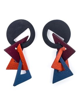 My Poloma Picasso Leather Earrings - Columbia
