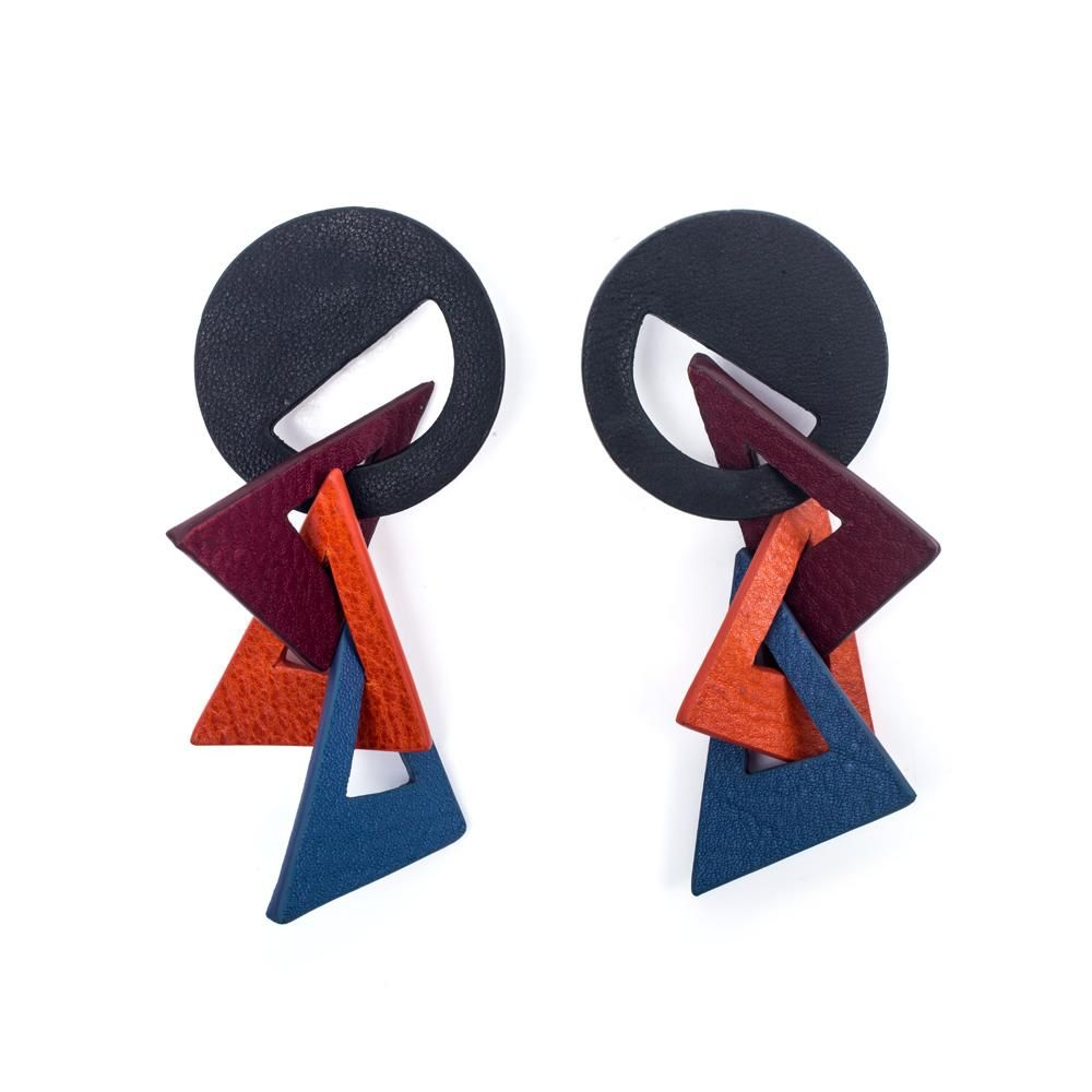 My Poloma Picasso Leather Clip On Earrings - Columbia