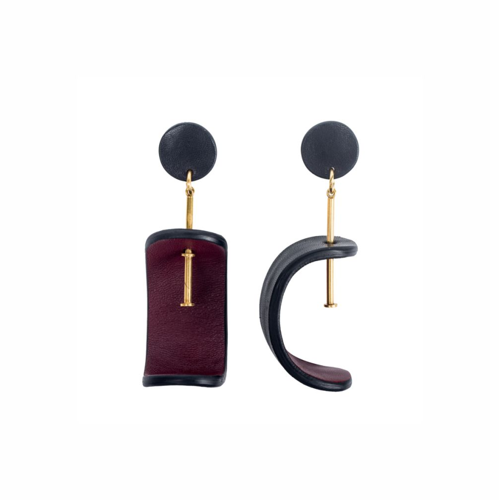 My Poloma Tokyo Leather Clip On Earrings - Columbia