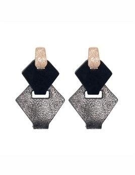 My Poloma Link Silver Leather Earrings - Columbia