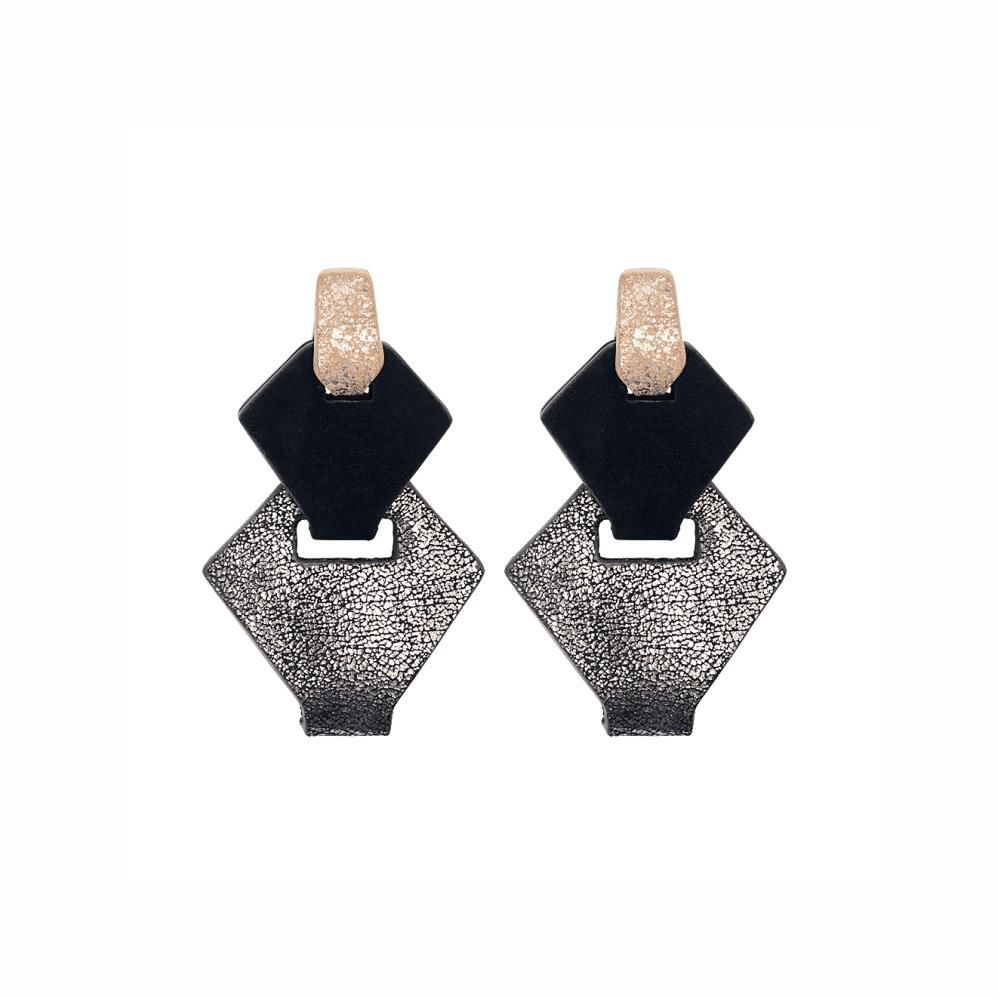 My Poloma Link Silver Leather Clip on Earrings - Columbia