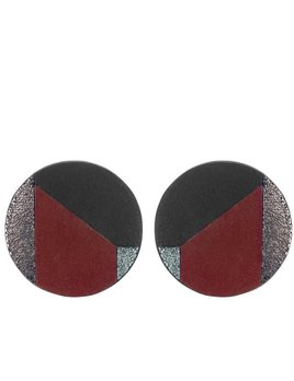 My Poloma Circle Patchwork Leather Clip on Earrings - Columbia