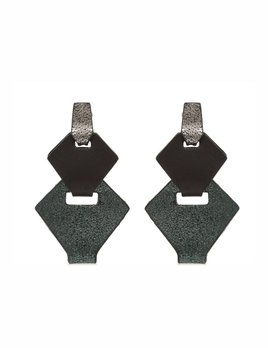 My Poloma Link Green Leather Clip On Earrings - Columbia