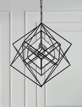 Kelly Wearstler Kelly Wearstler - Cubist Medium Chandelier in Aged Iron - Fixture Height: 91.5cm Width: 79.4cm Canopy: 11.5cm Square - By Order Only