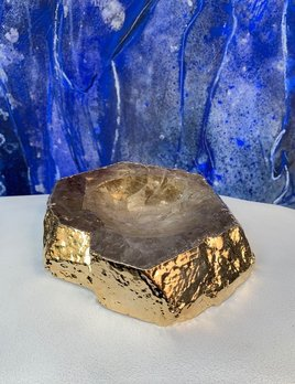 Rablabs Smokey Quartz Casca Bowl - Gold Edge - Approx 16x4cm