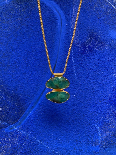Lisa Black Jewellery - Double Emerald Drop Necklace - Facet Cut on 22ct Gold Indian Chain - Handmade in Australia