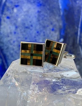Rick Southwick -  Sterling Silver Cufflinks with Onyx & Tigers Eye - Handcrafted in Australia