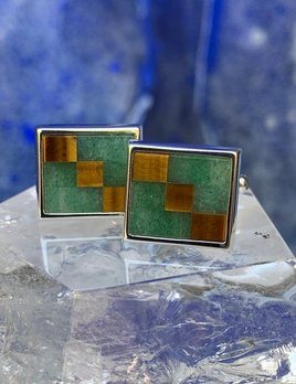 Rick Southwick - Sterling Silver Cufflinks with Tigers Eye & Jadeite - Handcrafted in Australia