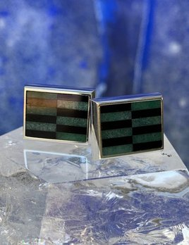 Rick Southwick - Sterling Silver Cufflinks with Onyx & Jadeite - Handcrafted in Australia