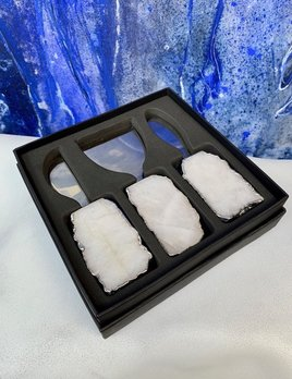 Rablabs Kiva Cheese Set - Clear Quartz - Silver Edge
