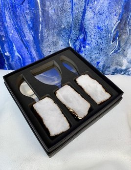 Rablabs Kiva Cheese Set - Clear Quartz - Gold Edge