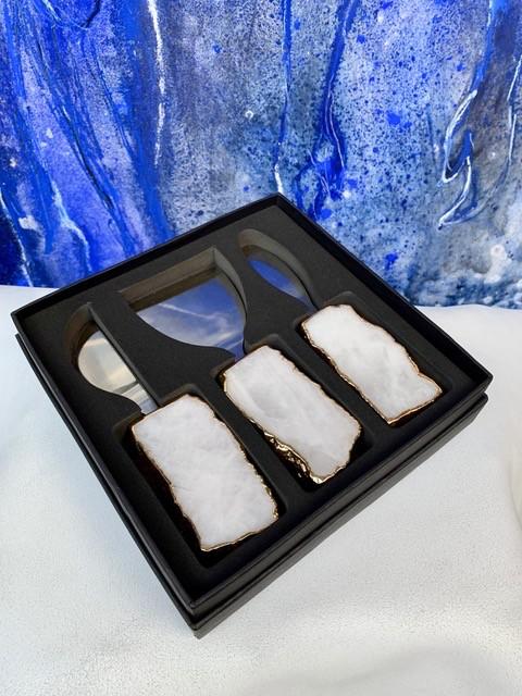 Rablabs Kiva Cheese Set - Clear Quartz - Gold Edge