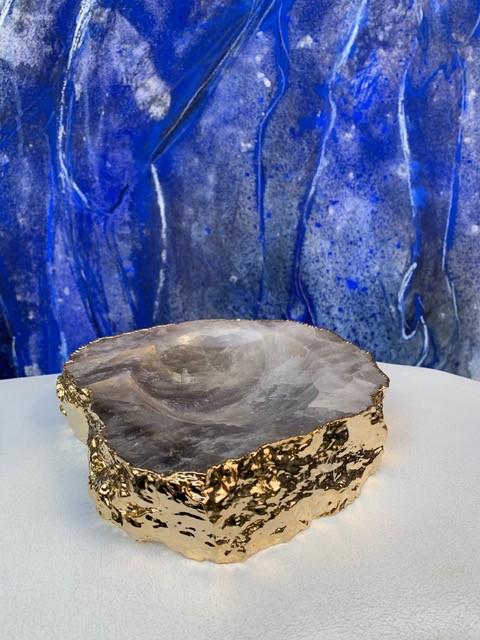 Rablabs Smokey Quartz Casca Bowl - Gold Edge - Approx 16x4cm