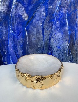 Rablabs Clear Quartz Casca Bowl - Gold Edge - Approx 16x4cm
