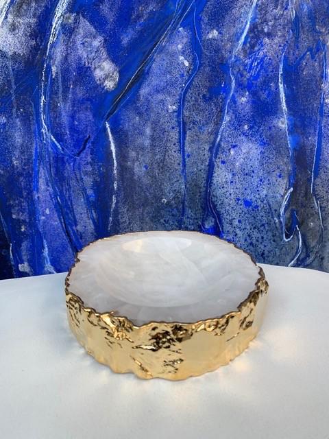 Rablabs Clear Quartz Casca Bowl - Gold Edge - Approx 16x4cm