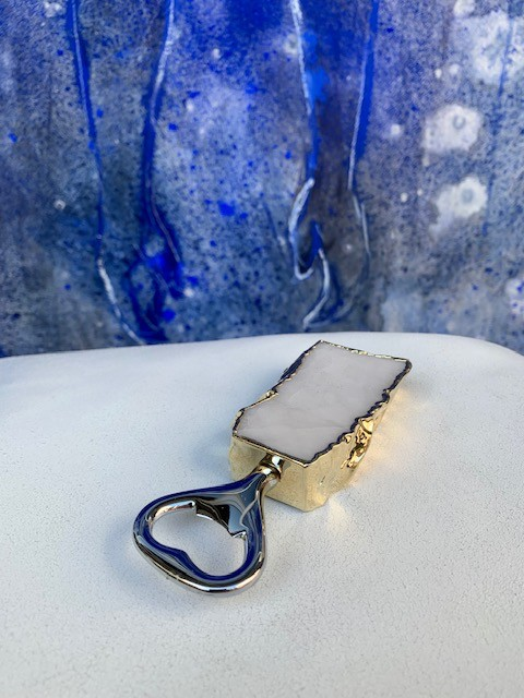 Rablabs Bottle Opener - Clear Quartz - Gold Edge