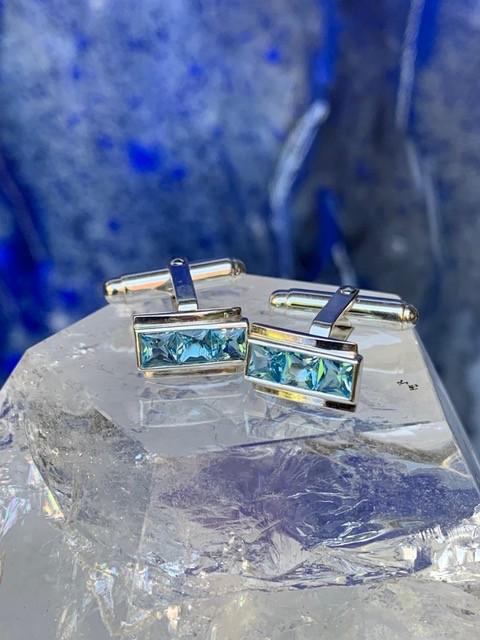 Rick Southwick - Sterling Silver Blue Topaz Cufflinks<br />  - Handcrafted in Australia