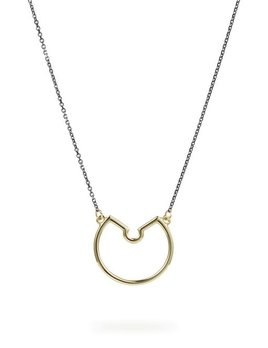 Luke Rose - Small Naked Hoop Necklace in Blackened Silver and 9ct Gold