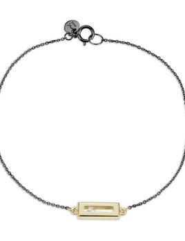 Luke Rose -Sliding Rock Bracelet in Blackened silver and 9ct Gold