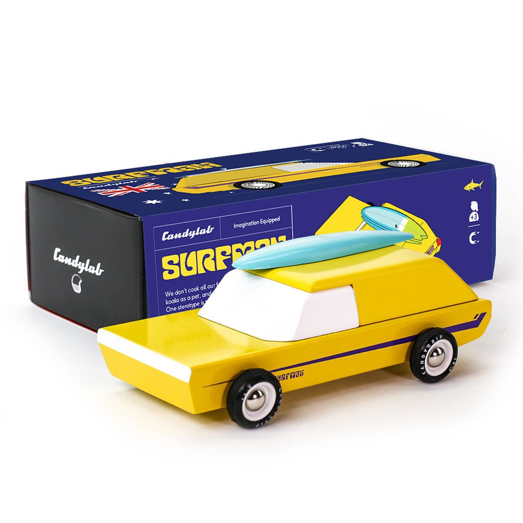 Until/See Concept Surfman Toy Car - Heirloom wood toy car and canoe, inspired by Australian surf culture