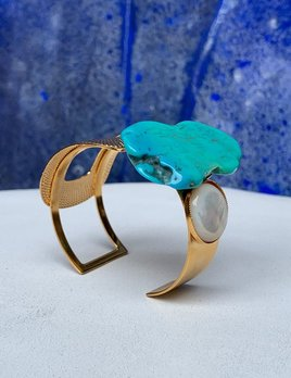 Philippe Ferrandis Philippe Ferrandis - Adjustable Cuff - Turquoise Resin - Gold Plated - Made in France