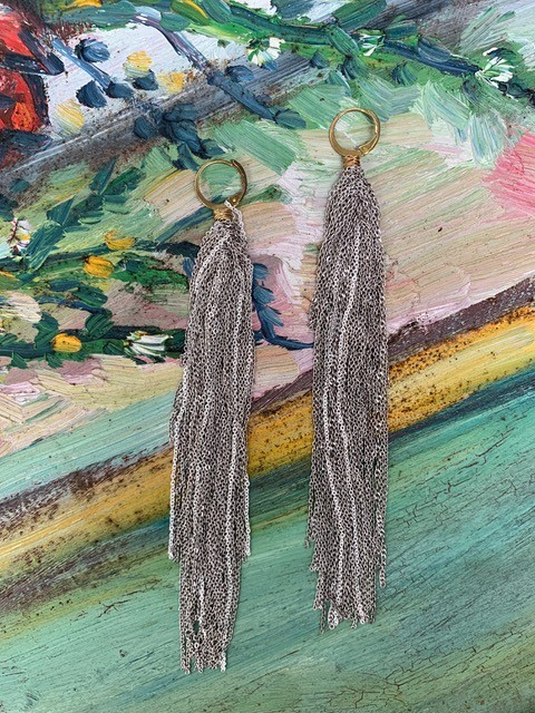 Delphine Lamarque Fase Falls Silver Chains Earrings - France