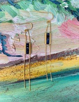 Dearest Paris Cube Klee Necklace with 5 Bead Detail - Gold Plated - Black Tourmaline - Paris