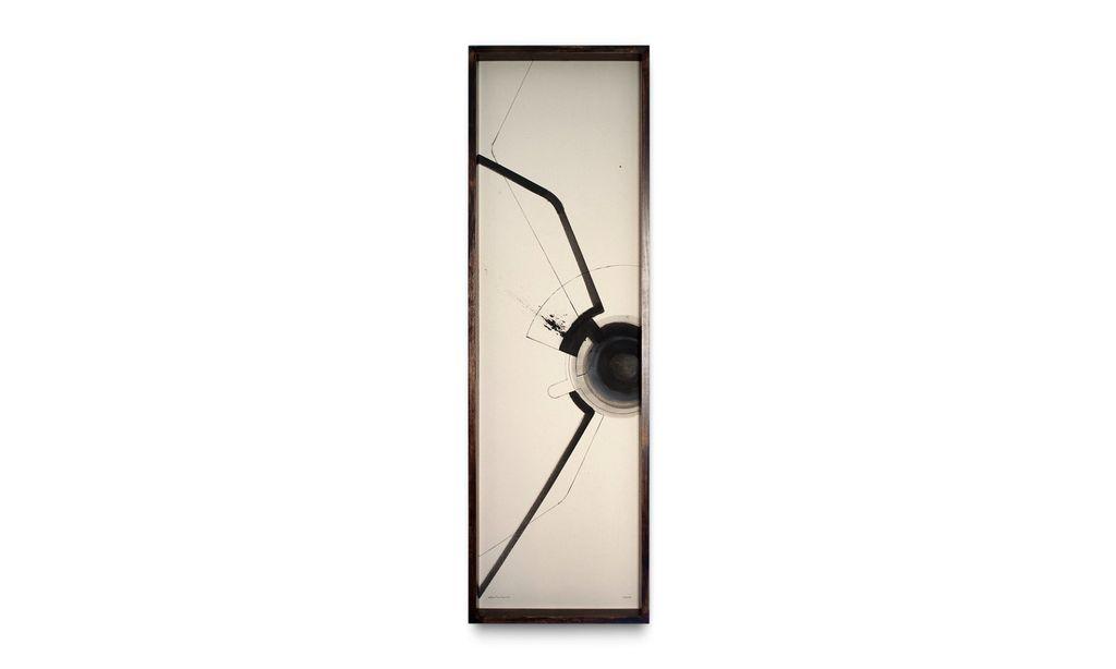 Throb - Sequence of Three - Triptych - Zami Artist - Ink and Raw Canvas - each 40x135cm - Black Box Frame 2017
