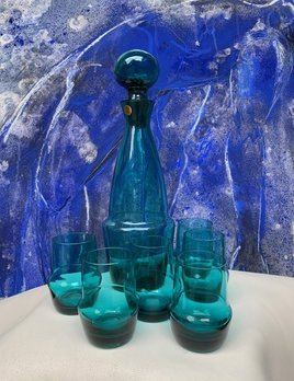 BECKER MINTY Vintage Teal Decanter and Six 6 Glasses