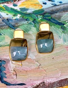 Perpetua Clip on Earrings - Resin with 18ct Gold Plated - London - Blue