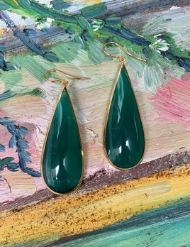 Lucas Jack Perpetua Large Drop Earrings - Resin with 18ct Gold Plated - London - Emerald Green