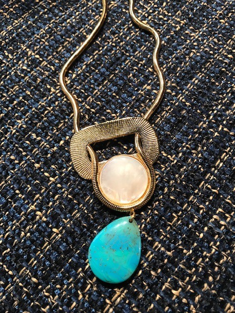 Philippe Ferrandis Philippe Ferrandis - Mother of Pearl and Turquoise Necklace - Gold Plated - Made in France