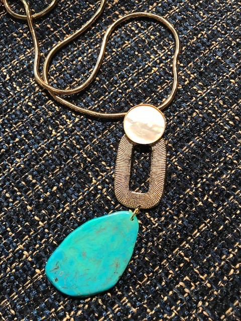 Philippe Ferrandis Philippe Ferrandis - Mother of Pearl and Turquoise Pendant Necklace - Gold Plated - Made in France