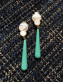 Philippe Ferrandis Philippe Ferrandis - Turquoise Resin and Mother of Pearl Drop Clip Earrings - Gold Plated - Made in France