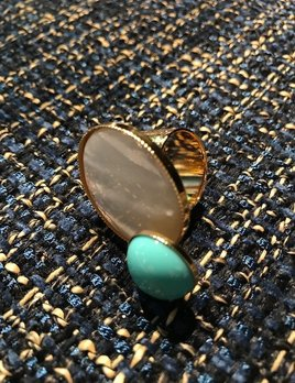 Philippe Ferrandis Philippe Ferrandis - Mother of Pearl and Turquoise Round Shaped Resin Ring - Gold Plated - Made in France
