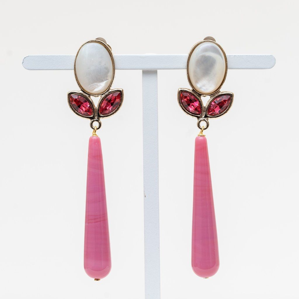Philippe Ferrandis Philippe Ferrandis - Drop Earring - Swarovski Crystal and Glass - Gold Plated - Assorted Colours - Made in France